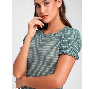 Free people take one for the team puff sleeve top